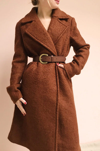 Fangdalen Cognac Brown Coat | Manteau Brun | La Petite Garçonne on model