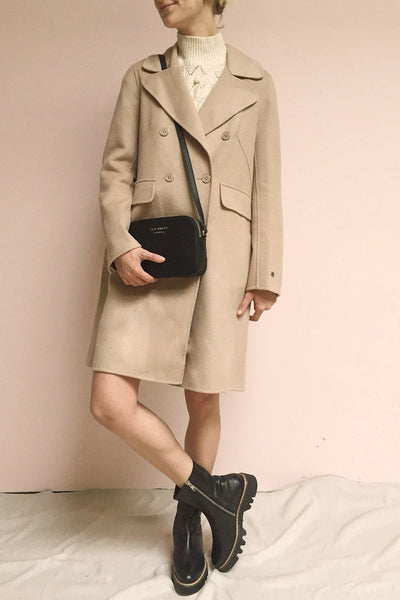 Rivio Beige Felt Coat | Manteau Beige | La Petite Garçonne on model
