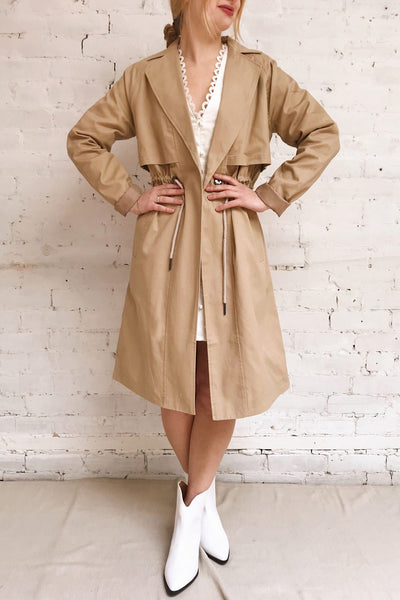 Walcourt Beige Midi Trench Coat | La petite garçonne on model