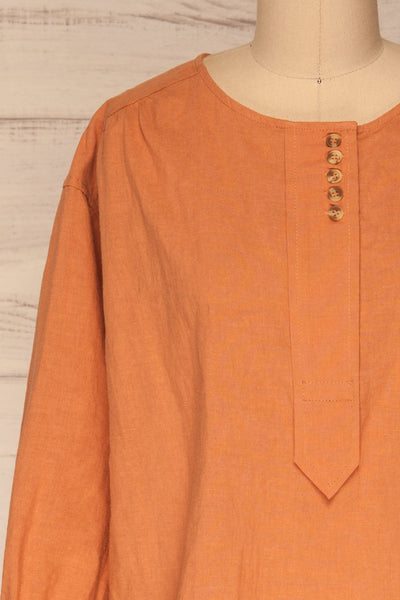 Cobh Orange Linen Oversize Top | La petite garçonne  front close-up