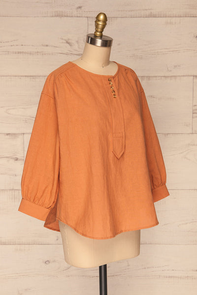 Cobh Orange Linen Oversize Top | La petite garçonne  side view
