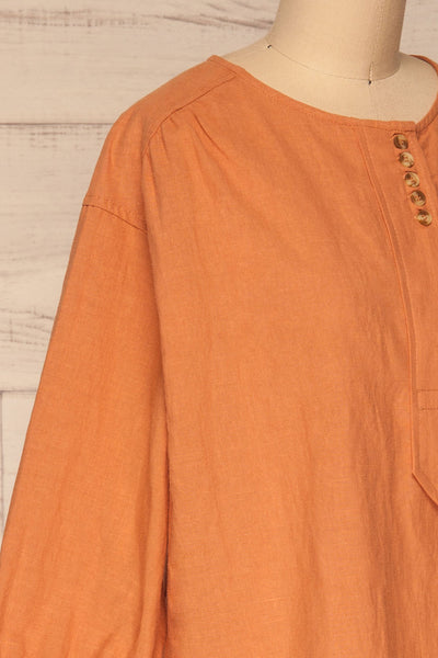 Cobh Orange Linen Oversize Top | La petite garçonne  side close-up