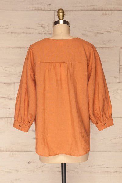 Cobh Orange Linen Oversize Top | La petite garçonne back view