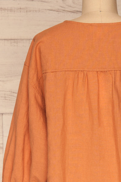 Cobh Orange Linen Oversize Top | La petite garçonne  back close-up