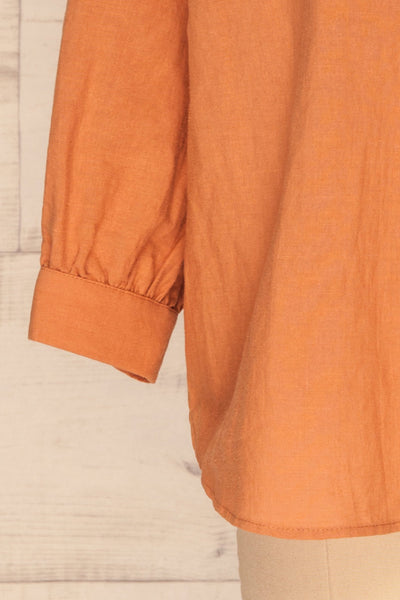 Cobh Orange Linen Oversize Top | La petite garçonne  bottom close-up
