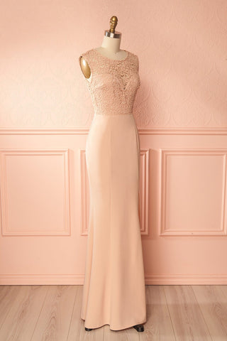Cobie Blush Mermaid Gown with Lace & Slit | Boudoir 1861