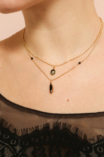 Coleen Moore Golden & Black Pendant Necklace | Boutique 1861 on model