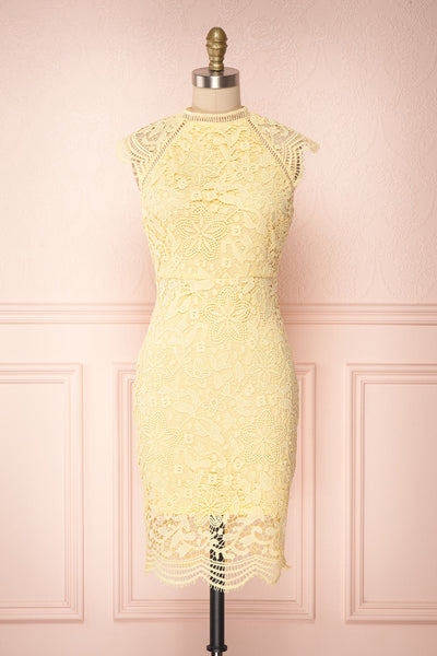 Colihaut Yellow Lace Fitted Cocktail Dress | Boutique 1861