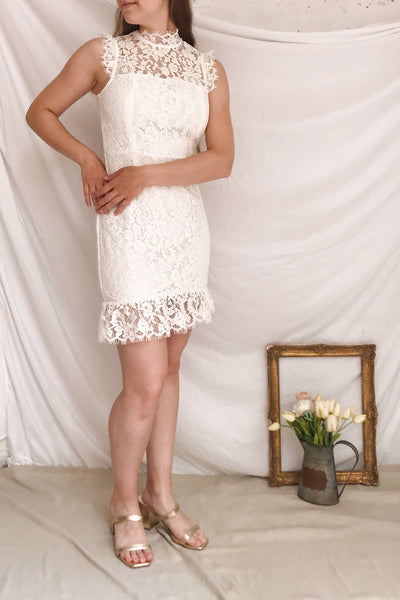 Colombe White Lace High Neck Short Dress | Boutique 1861 model look