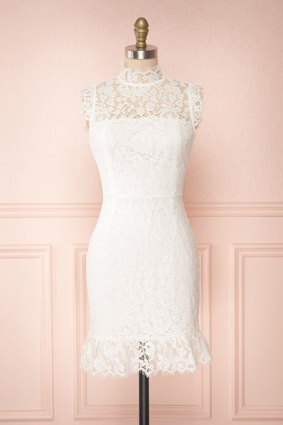 Colombe White High-Neck Lace Short Dress | Boutique 1861 front view