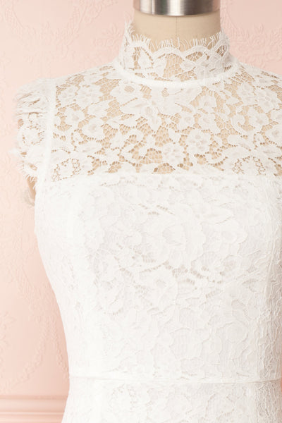 Colombe White High-Neck Lace Short Dress | Boutique 1861 front close up