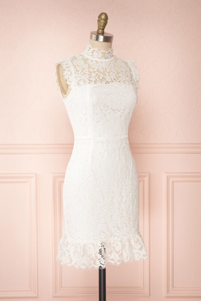 Colombe White High-Neck Lace Short Dress | Boutique 1861 side view