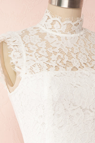 Colombe White High-Neck Lace Short Dress | Boutique 1861 side close up