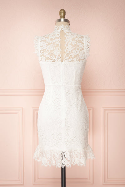 Colombe White High-Neck Lace Short Dress | Boutique 1861 back view