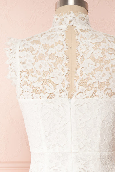 Colombe White High-Neck Lace Short Dress | Boutique 1861 back close up