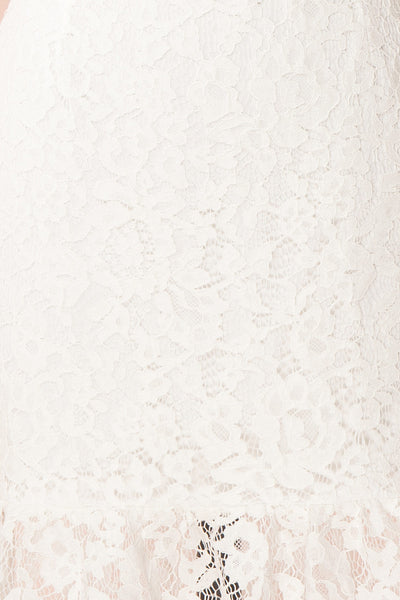 Colombe White High-Neck Lace Short Dress | Boutique 1861 fabric