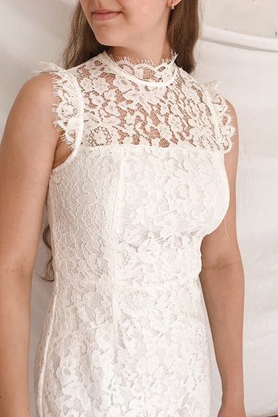 Colombe White Lace High Neck Short Dress | Boutique 1861 on model