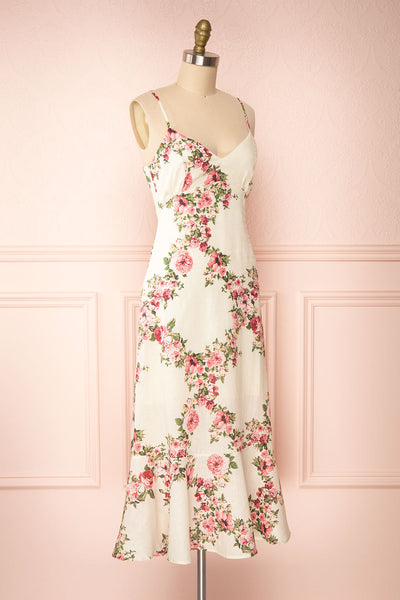 Colombine White Floral Midi Dress w/ Frills | Boutique 1861 side view