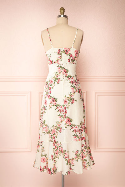 Colombine White Floral Midi Dress w/ Frills | Boutique 1861 back view