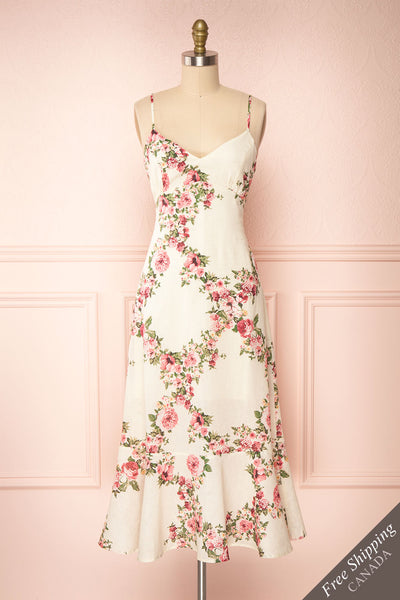 Colombine White Floral Midi Dress w/ Frills | Boutique 1861 front view