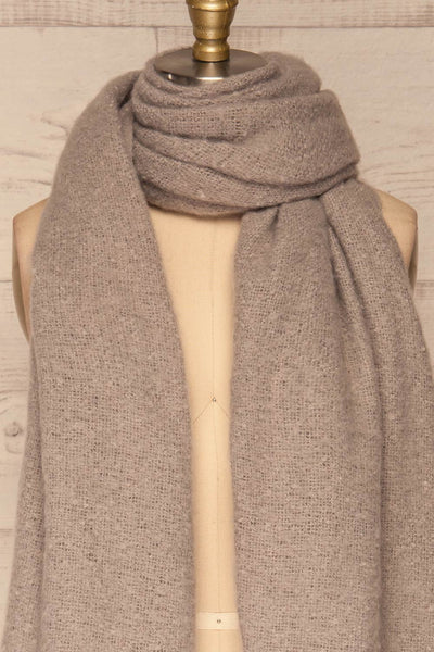 Combat Ciment Grey Large Fuzzy Scarf | FRONT CLOSE UP | La Petite Garçonne