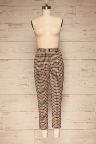 Comiso Beige Houndstooth Tailored Pants | La petite garçonne front view
