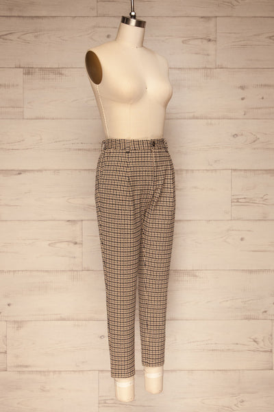 Comiso Beige Houndstooth Tailored Pants | La petite garçonne side view