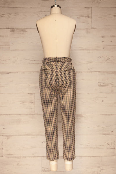Comiso Beige Houndstooth Tailored Pants | La petite garçonne back view