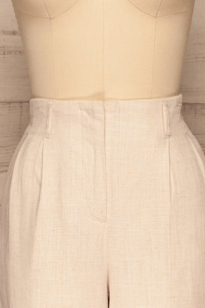 Corato Beige High Waist Wide Leg Pants | La petite garçonne  front close-up