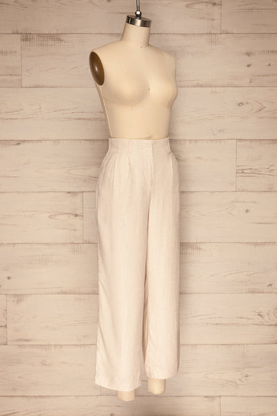 Corato Beige High Waist Wide Leg Pants | La petite garçonne  side view