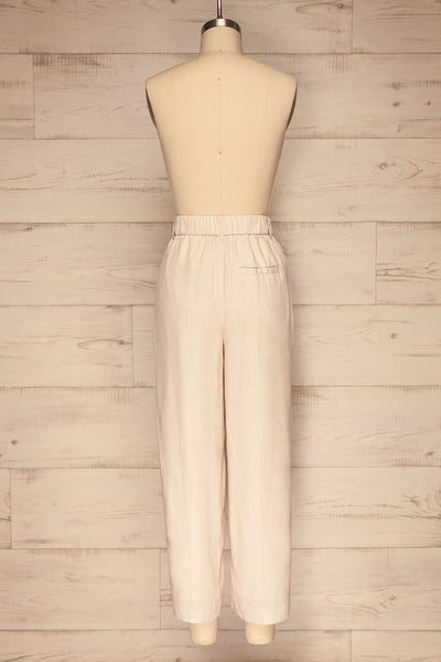 Corato Beige High Waist Wide Leg Pants | La petite garçonne  back view