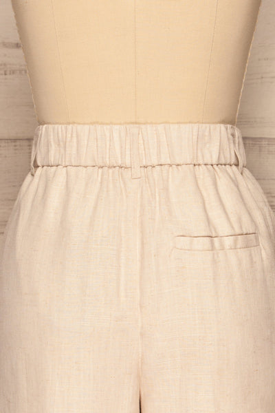 Corato Beige High Waist Wide Leg Pants | La petite garçonne  back close-up