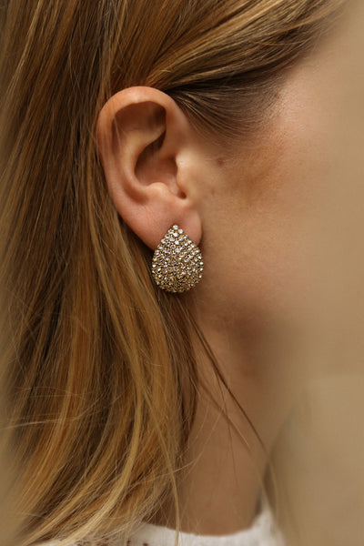 Cormier Or Golden Crystal Clip-On Earrings | Boutique 1861 on model