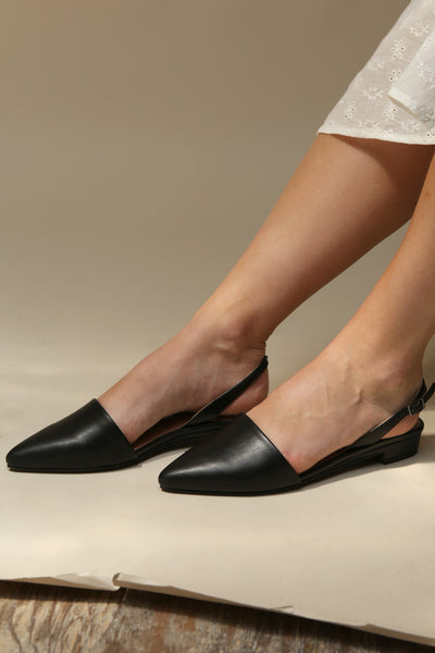 Coryna Black Matt & Nat Slingback Shoes | La Petite Garçonne Chpt. 2 on model