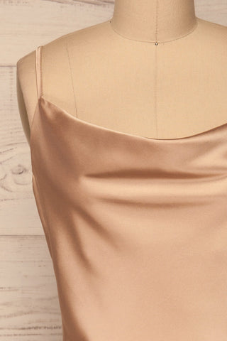 Cosenza Champagne Slip Dress | Robe | La Petite Garçonne front close-up