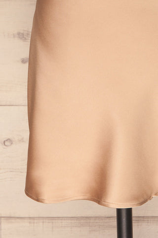 Cosenza Champagne Slip Dress | Robe | La Petite Garçonne bottom close-up
