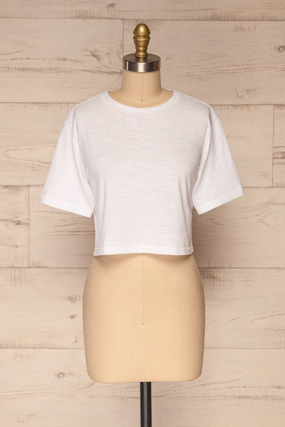 Cottbus White Short Sleeve Crop Top | La petite garçonne front view