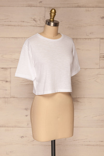Cottbus White Short Sleeve Crop Top | La petite garçonne side view