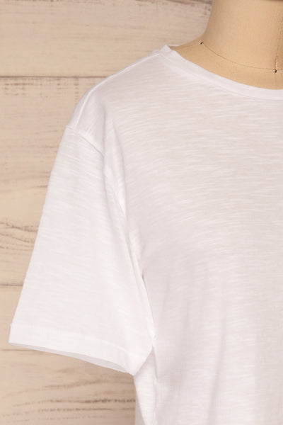 Cottbus White Short Sleeve Crop Top | La petite garçonne side close-up