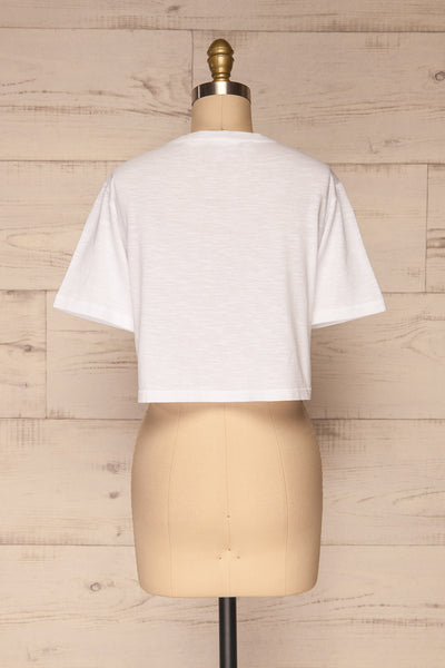 Cottbus White Short Sleeve Crop Top | La petite garçonne back view
