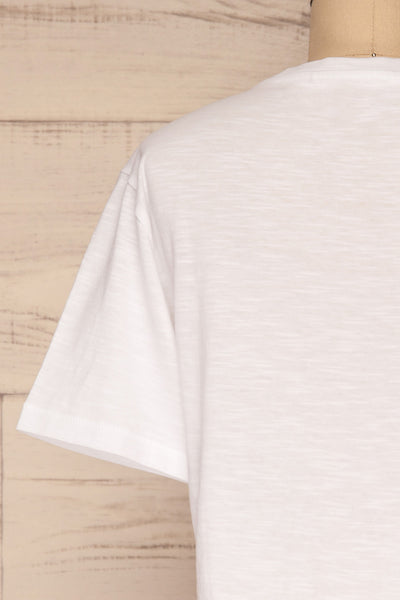 Cottbus White Short Sleeve Crop Top | La petite garçonne back close-up