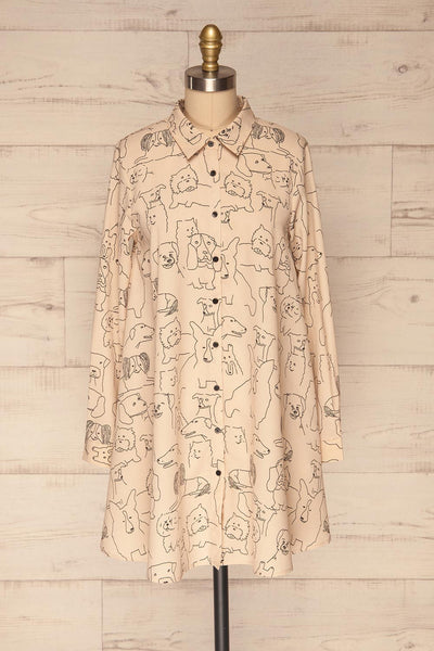 Coventry Beige Dog Pattern Flared Shirt Dress | La Petite Garçonne front view