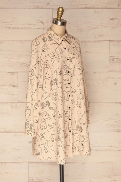 Coventry Beige Dog Pattern Flared Shirt Dress | La Petite Garçonne side view