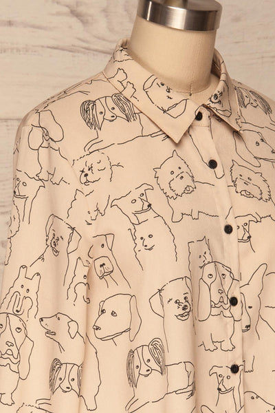 Coventry Beige Dog Pattern Flared Shirt Dress | La Petite Garçonne side close-up