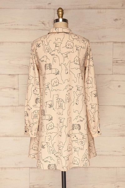 Coventry Beige Dog Pattern Flared Shirt Dress | La Petite Garçonne back view