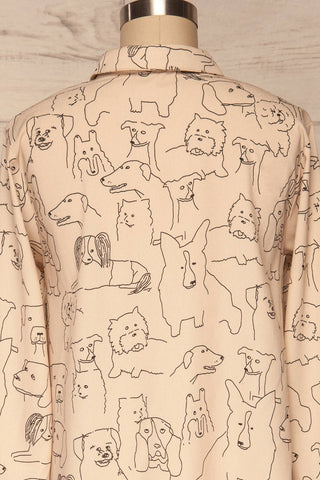 Coventry Beige Dog Pattern Flared Shirt Dress | La Petite Garçonne back close-up