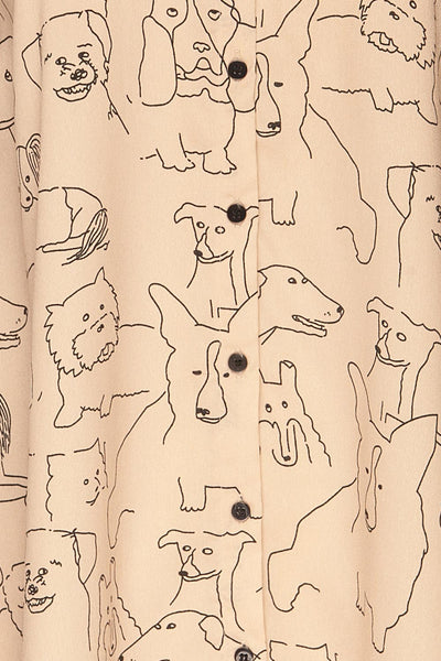 Coventry Beige Dog Pattern Flared Shirt Dress | La Petite Garçonne fabric detail