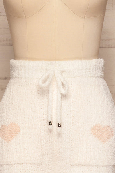 Craiova White Hearted Fuzzy Pants | La petite garçonne front close up