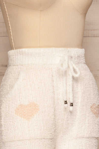Craiova White Hearted Fuzzy Pants | La petite garçonne side close up