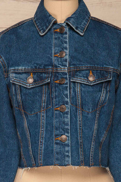 Cransac Crop Jean Jacket | Veston Denim | La Petite Garçonne front close-up